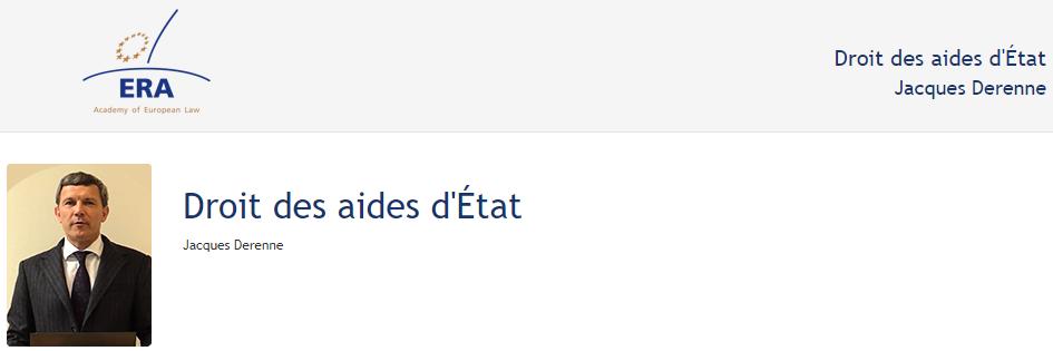 e-Presentation Jacques Derenne (219DV48): Droit des aides d'État
