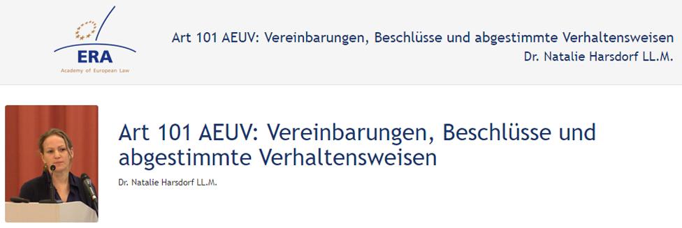 e-Presentation Dr. Natalie Harsdorf Enderndorf (219DV50): Art 101 AEUV: Vereinbarungen, Beschlüsse und abgestimmte Verhaltensweisen