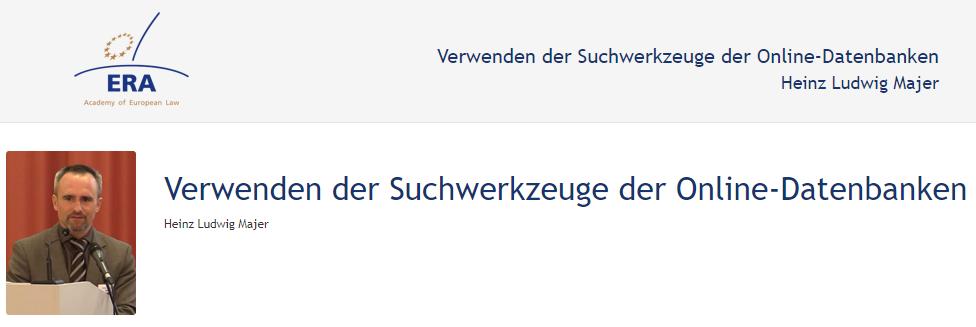 e-Presentation Heinz Ludwig Majer (219DV50): Verwenden der Suchwerkzeuge der Online-Datenbanken